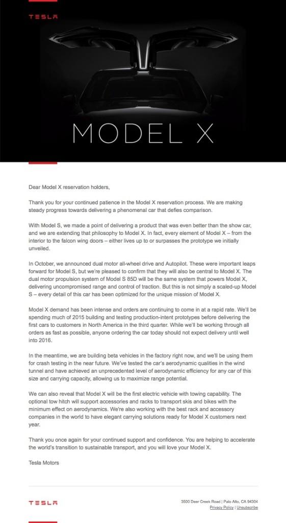 Tesla Model X delay letter_MommyMafia.com