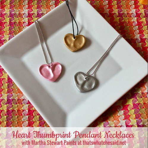 Mothers Day keepsake Heart thumbprint charm necklace