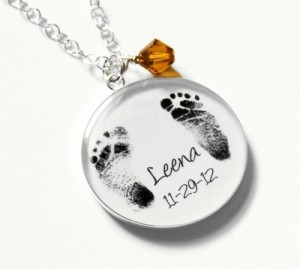 mothers day keepsake baby footprint necklace