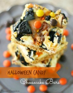 Leftover Halloween Candy Recipe; Halloween-Candy-Cheesecake-Bars