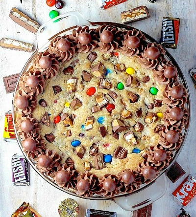 Leftover Halloween Candy Cookie Cake