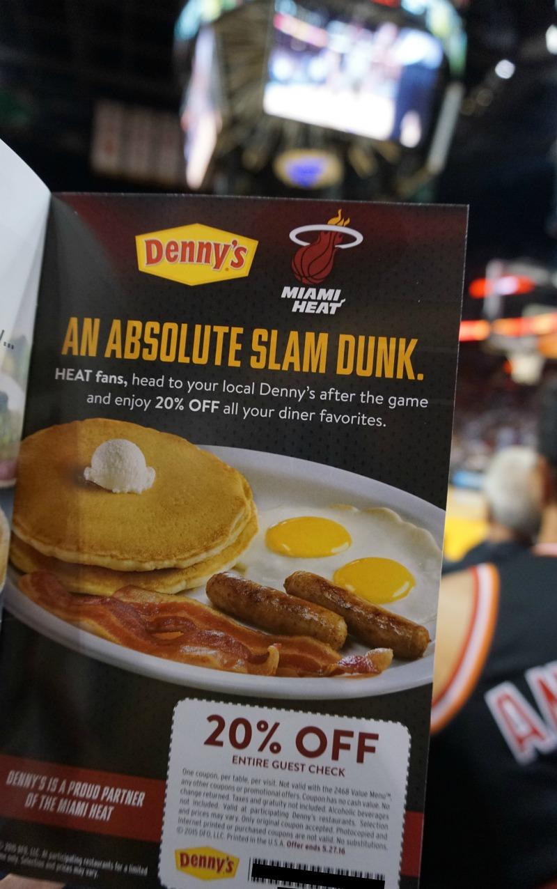 Miami Heat program Dennys coupon