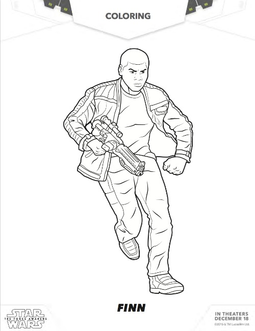 Free Star Wars Finn Coloring pages; Star Wars The Force Awakens free activity pages via MommyMafia.com: Star Wars Free Coloring Sheets Print at home