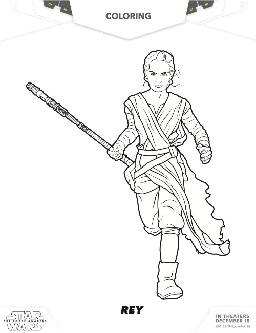 Free Star Wars Rey Coloring pages; The Force Awakens Rey free coloring pages via MommyMafia.com