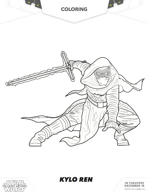 Star Wars Free Kylo Ren Coloring; Star Wars Free Coloring Pages; Star Wars: The Force Awakens Coloring Pages