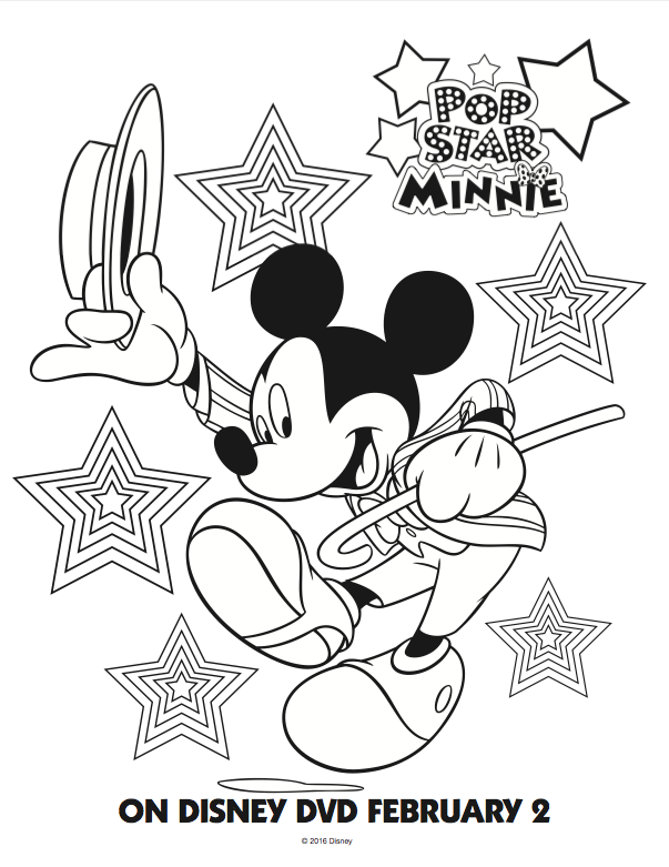 Free Mickey Mouse Club House Coloring pages; Pop Star Minnie Mouse