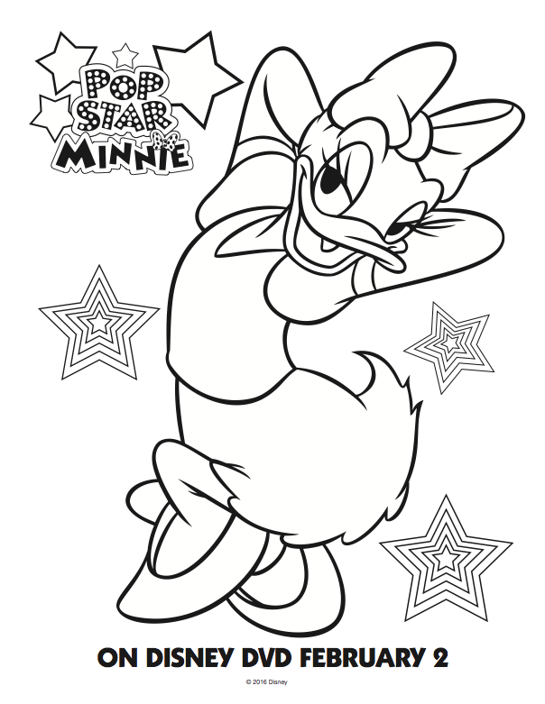 Free Mickey Mouse Clubhouse coloring pages Daisy; Pop Star Minnie Mouse