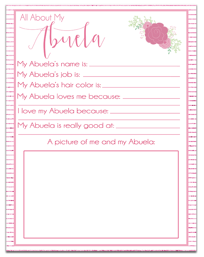 All About My Abuela Free Printable