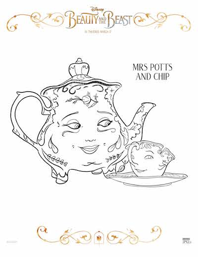 Free Beauty and the Beast coloring pages, Free Beauty and the Beast coloring sheets, Disney Beauty and the Beast Birthday party; Mrs. Potts
